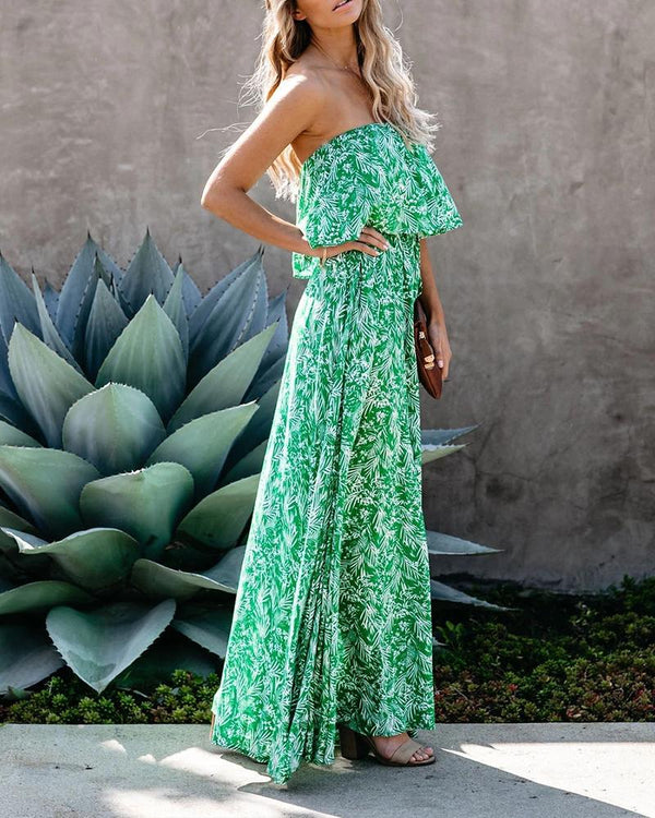 Botanical Print Split Maxi Dress