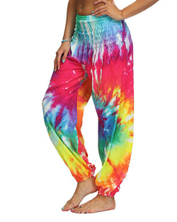 Tie Dye Print Wide Leg High Waist Yoga Pants