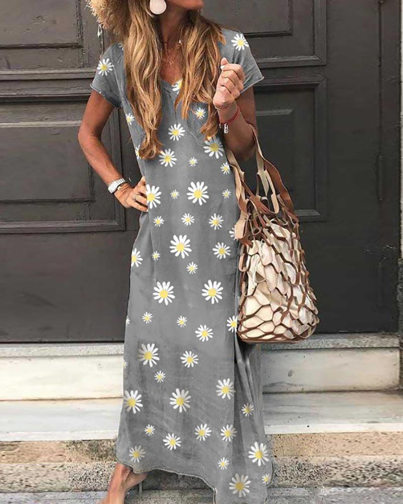 Daisy Print Short Sleeve Maxi Dress