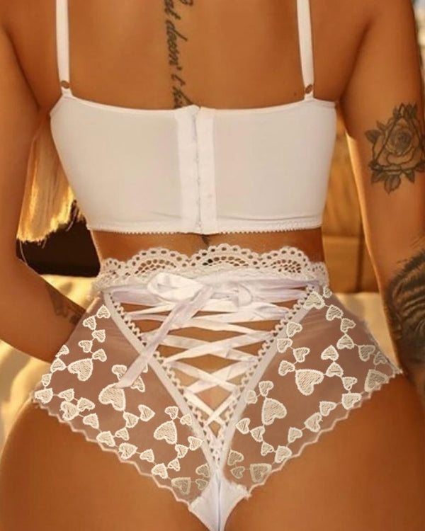 Heart Pattern Lace-up Sheer Mesh Panty
