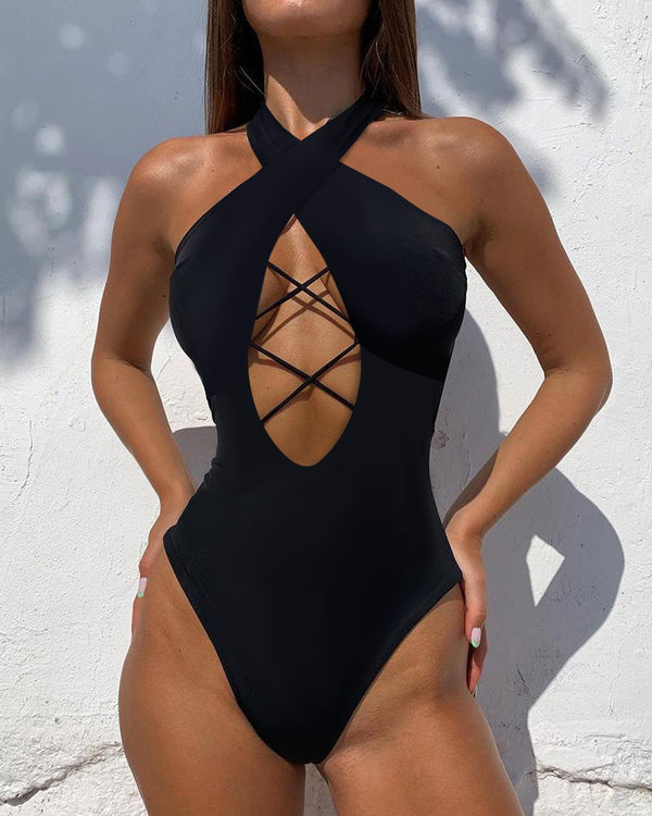 Lace-up Plunge One Piece Swimsuit