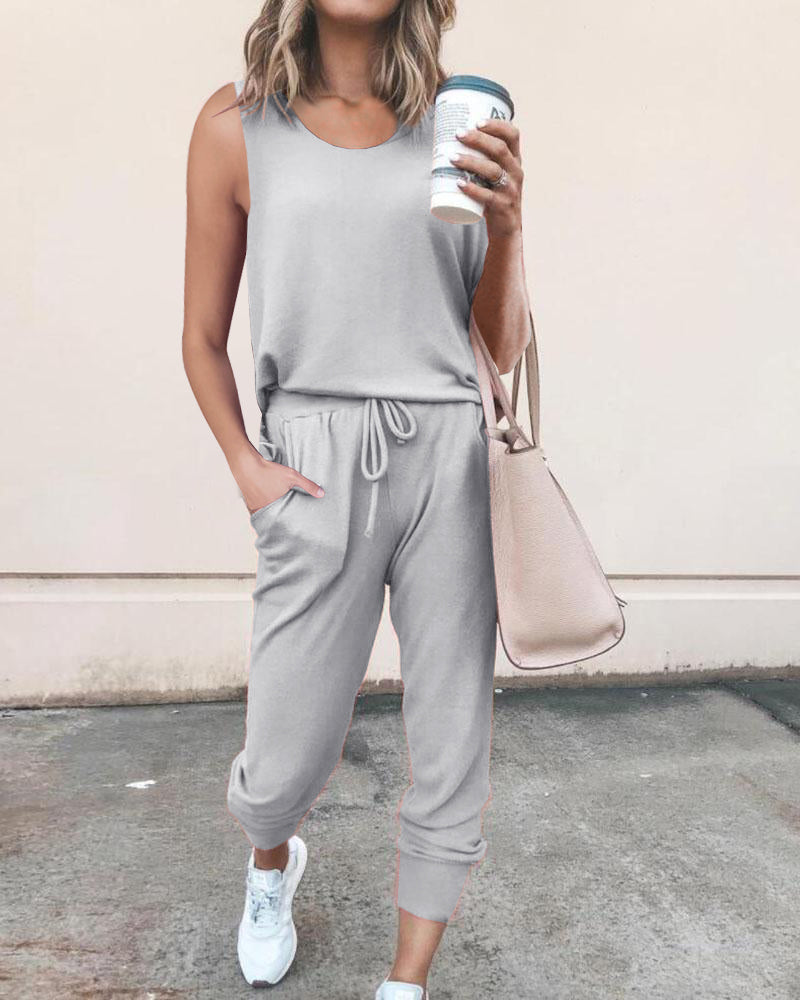 Solid Round Neck Sleeveless Top & Pants Set