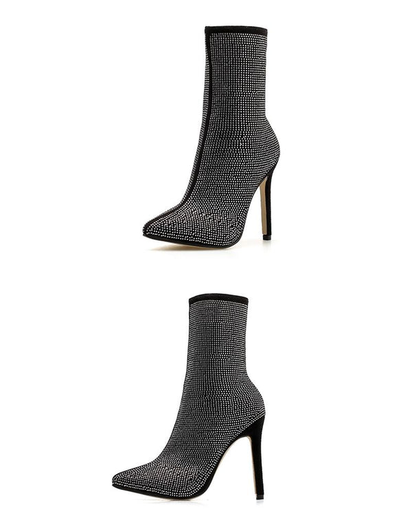 Leather Pointed Toe Ankle Boots