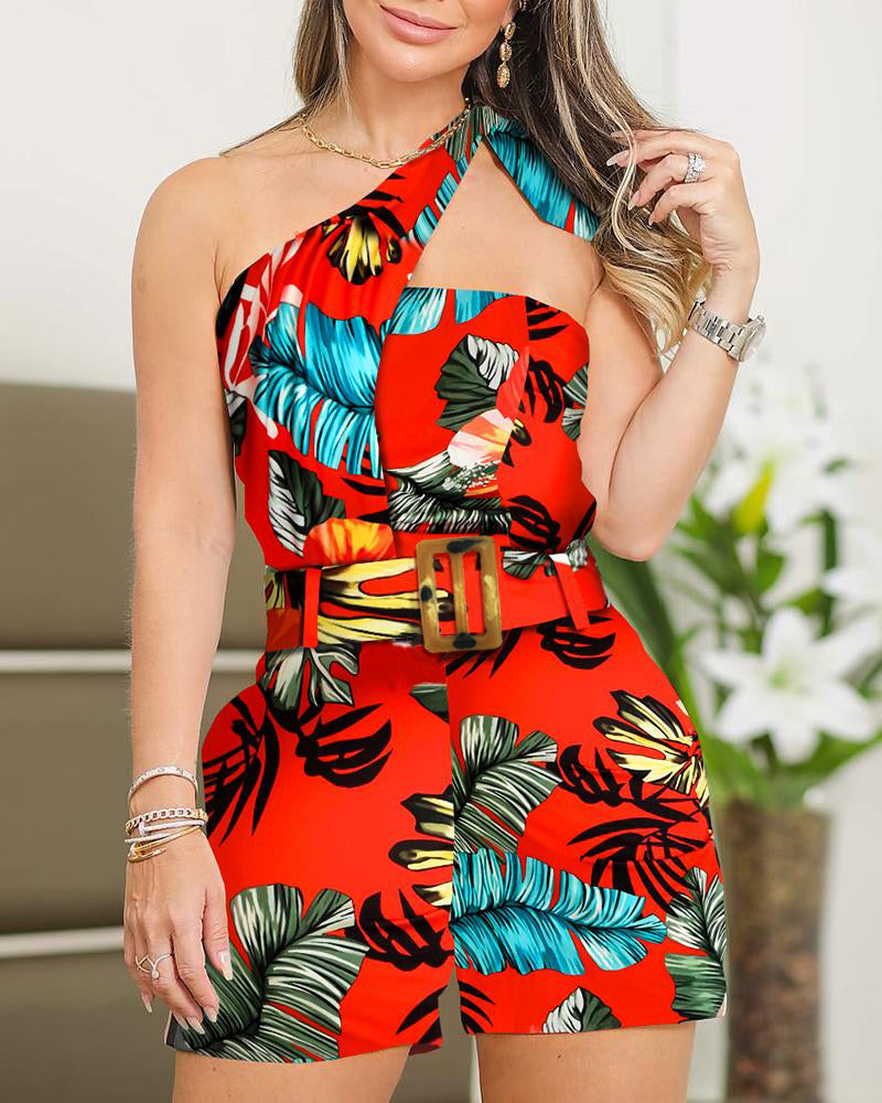 One Shoulder Tropical Print Casual Romper