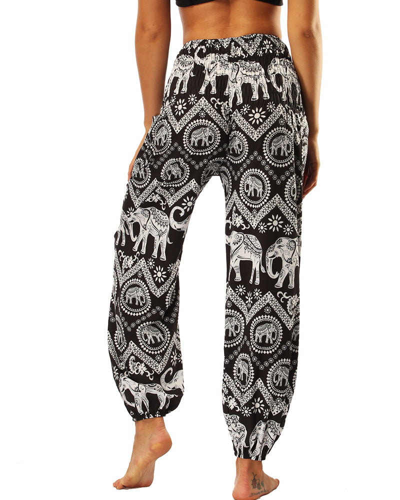 Animal Print High Waist Wide Leg Yoga Pants