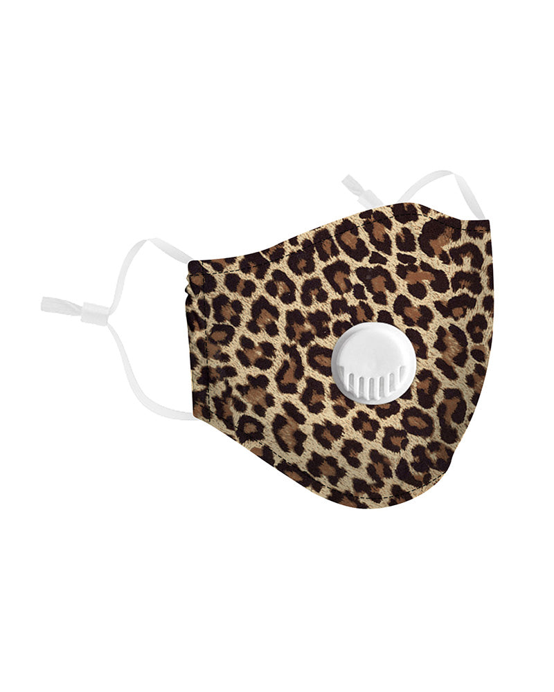 Leopard Print Breathing Washable Valve Face Mask (2 filters as gift)