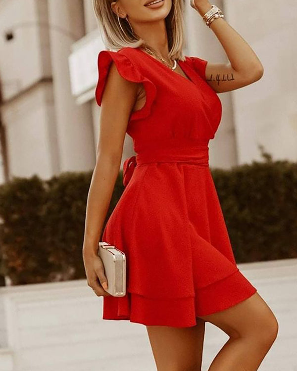 Layered Flutter Sleeve Wrap Casual Dress