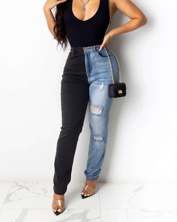 Color Block Skinny Waist Slim Jean Pants
