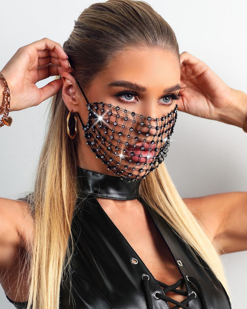 Studded Hollow Out Breathable Ear Loop Mouth Mask
