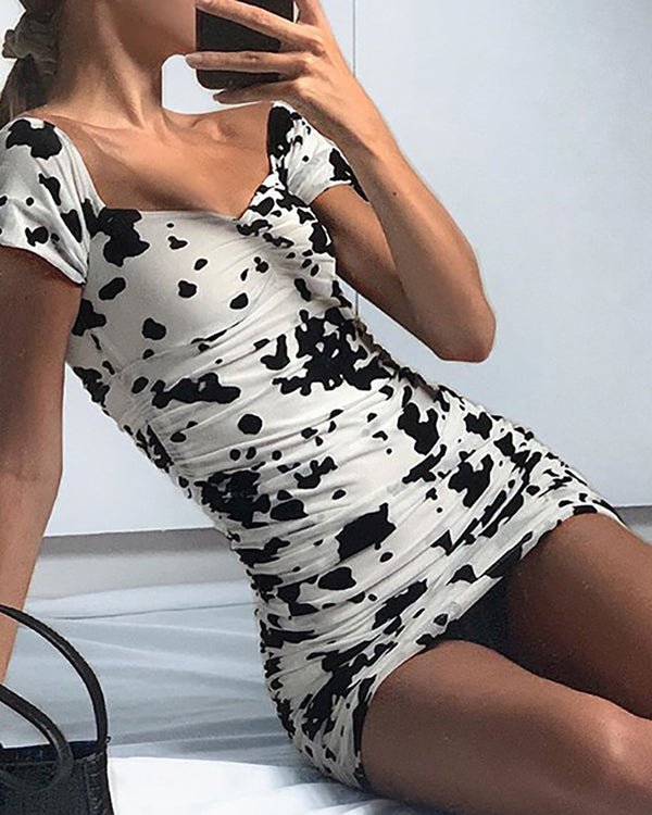 Cow Print Shirred Fitted Mini Dress