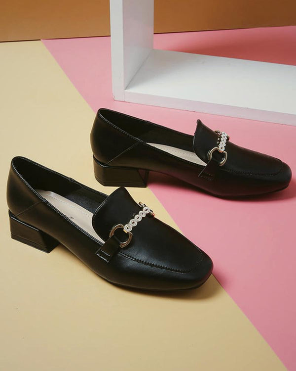 Comfy Solid Low Heel Loafers