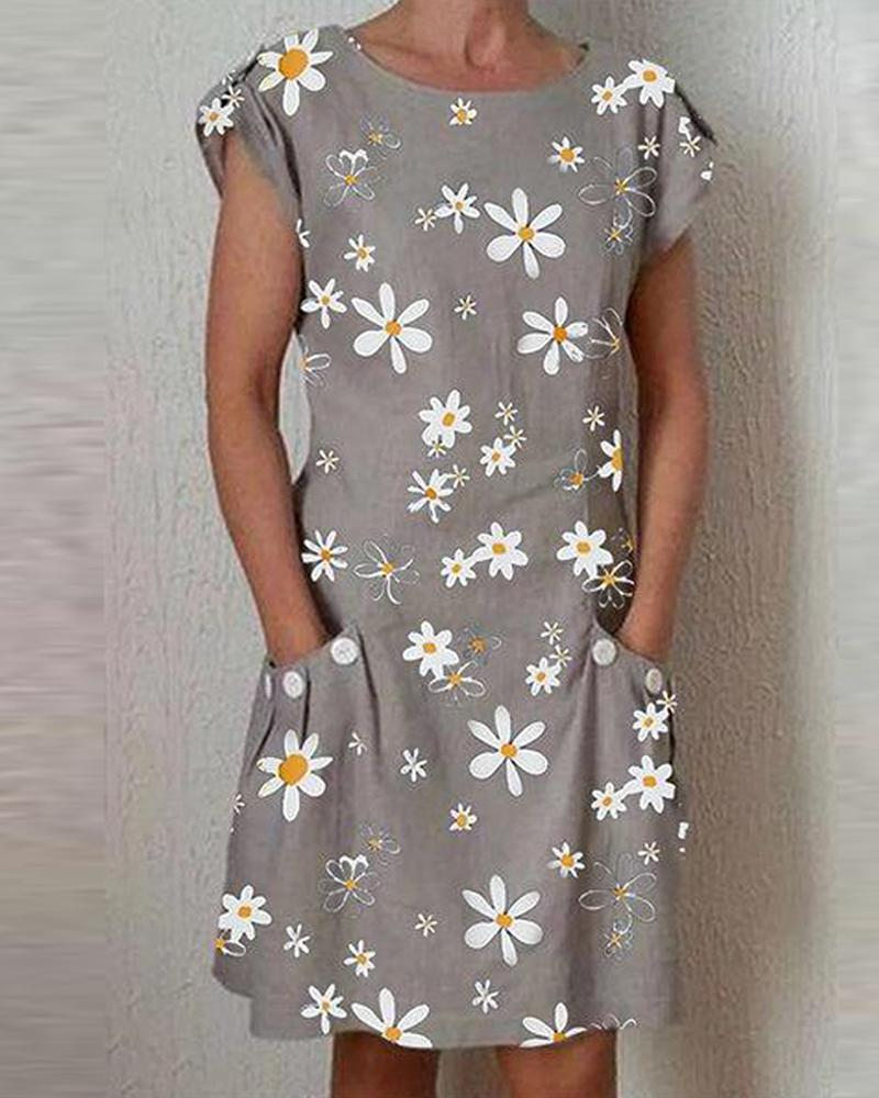Daisy Print Side Pocket Mini Dress
