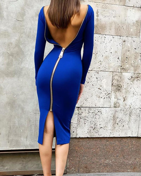 Solid Zipper Skinny Long Sleeve Bodycon Dresses