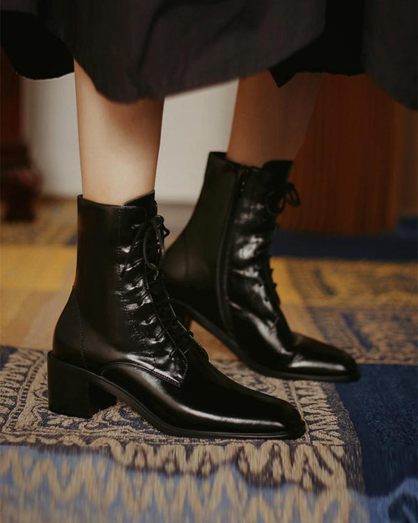 Pointed-toe Solid Color Lace-up Martin Boots