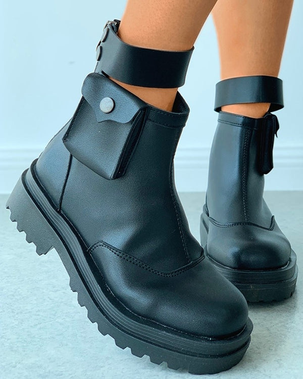 Ankle Strap Buttoned Combat Boots