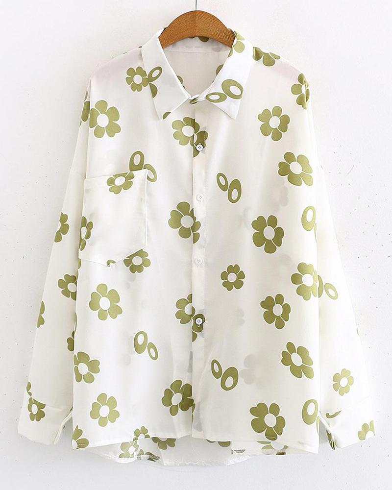 Floral Print Button-Down Shirt