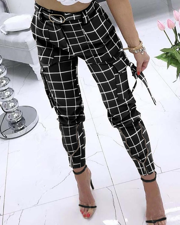 Gingham Check Print Pocket Design Pencil Pants