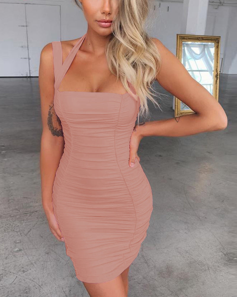 Sexy Solid Color Halter Sleeveless Ruched Skinny Mini Dress