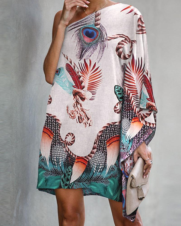 Peacock Print One Shoulder Casual Dress
