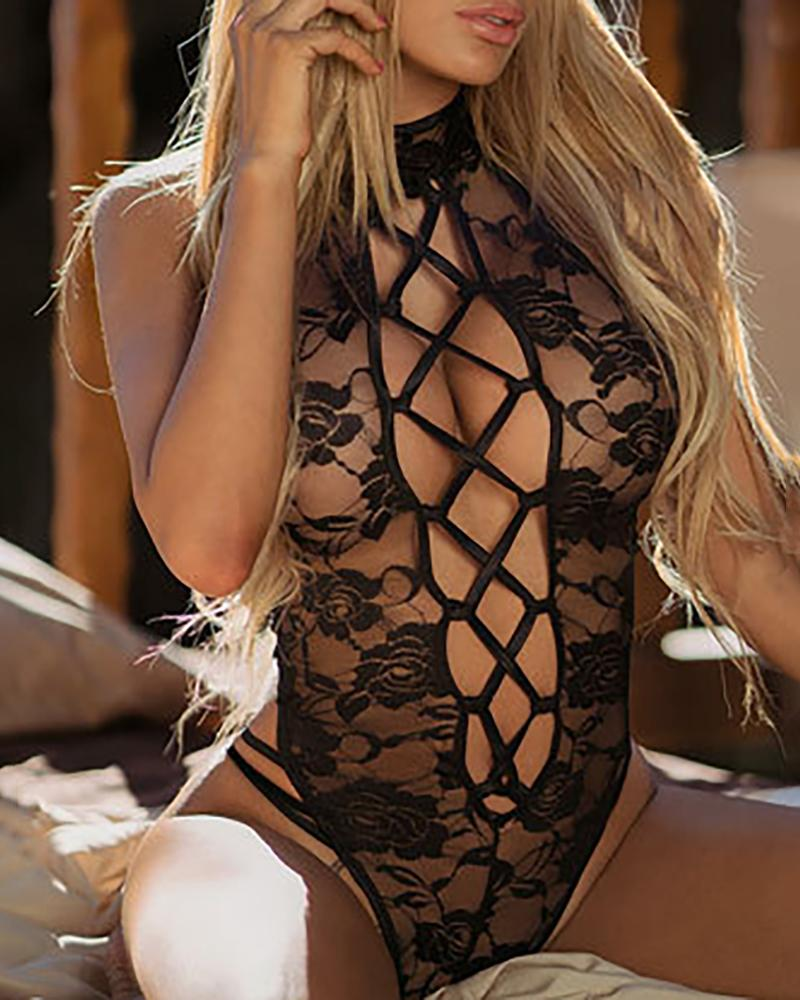 Sheer Mesh Lace Insert Hollow Out Bodysuit
