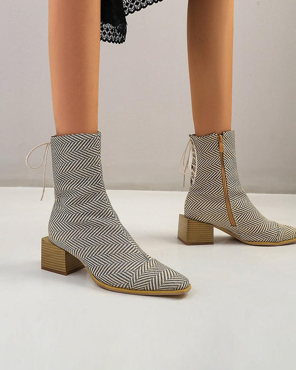 Solid Color Lace-up Pointed-toe Boots