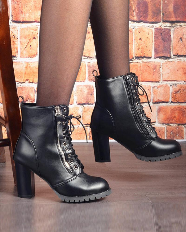 Pointed-toe Lace-up Solid Color Boots