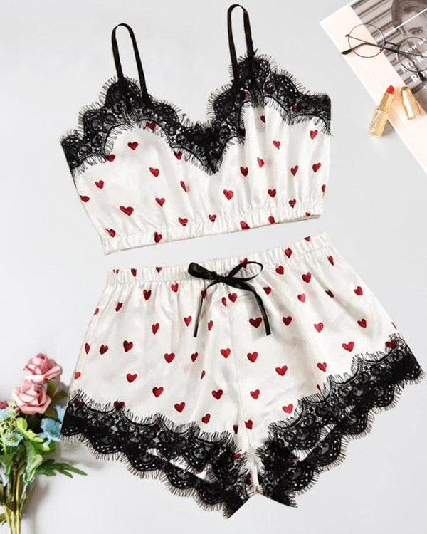Heart Print Lace Cami Set