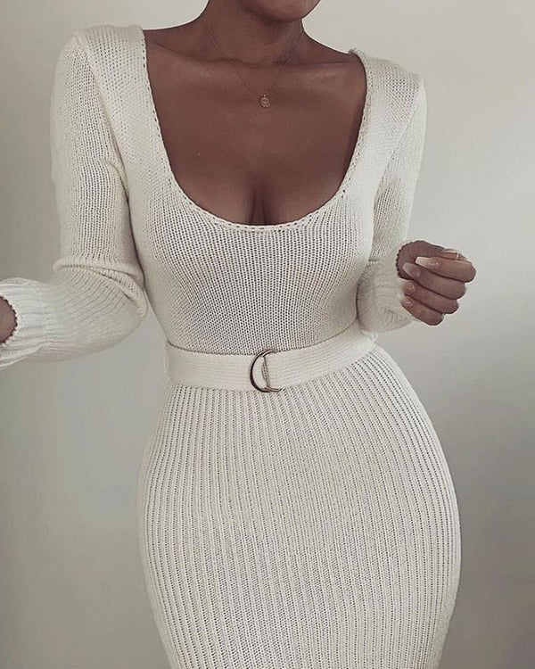 Solid Knit Hollow Out Long Sleeve Dress