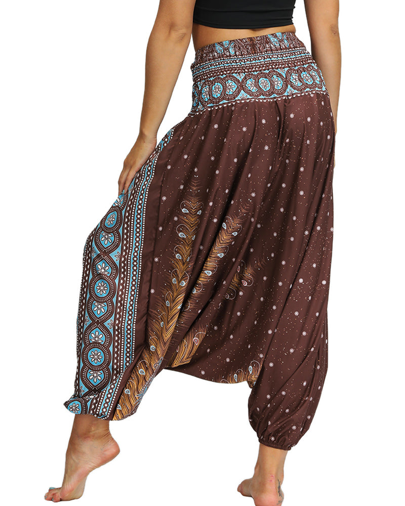 Print Wide Leg High Waist Yoga Pants