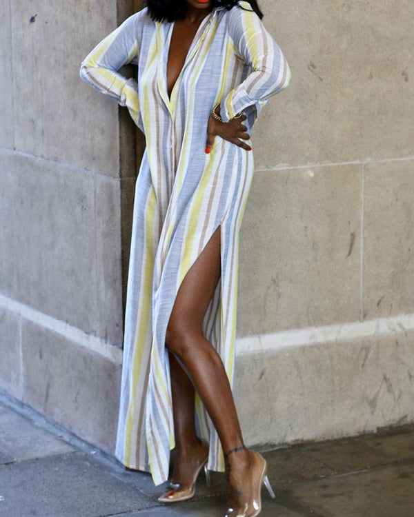 Striped Side Split Maxi Dress