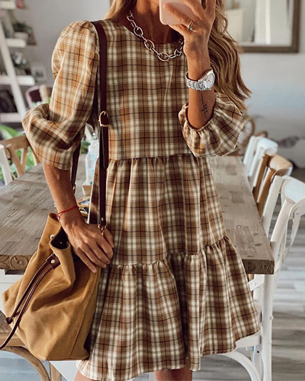 Houndstooth Patchwork Long Sleeve Dress