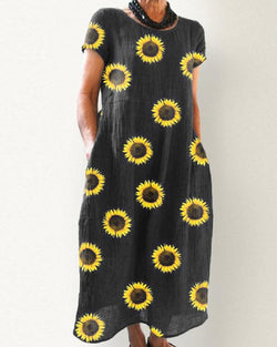 Sunflower Print Side Pocket Maxi Dress