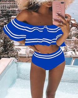 Striped Ruffles Off Shoulder Bikini Set