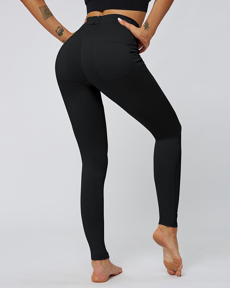 Solid Butt Lift Pockets Yoga Pants