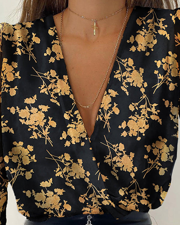 Floral Print Plunge Long Sleeve Blouse