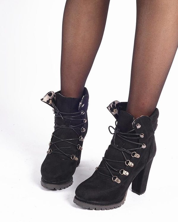 Solid Color Lace-up Round-toe High Heel Boots