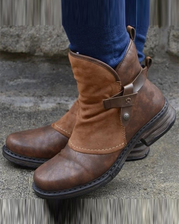 Round-toe Stitching Solid Color Martin Boots