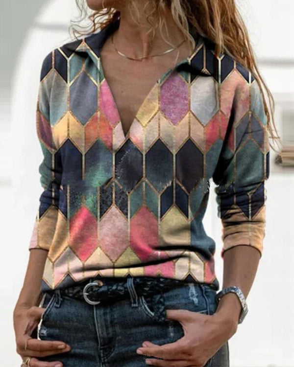 Color Block Long Sleeve Blouse