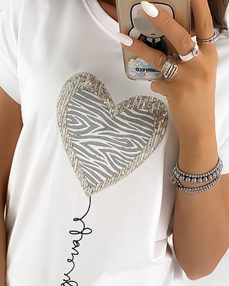 Heart Sequins Zebra Print Casual T-shirt