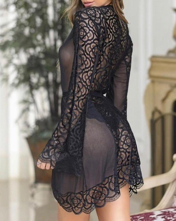 Lace Trim Sheer Mesh Bell Sleeve Nightgown