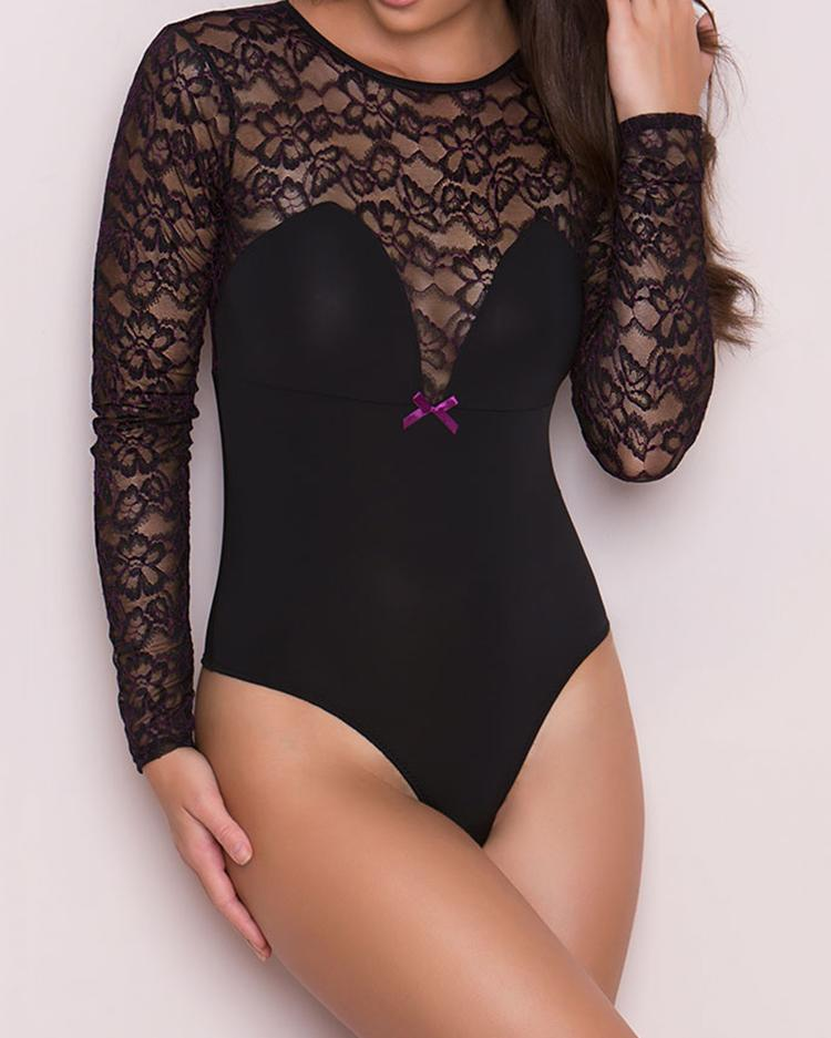Open Back O-ring Lingerie Bodysuit