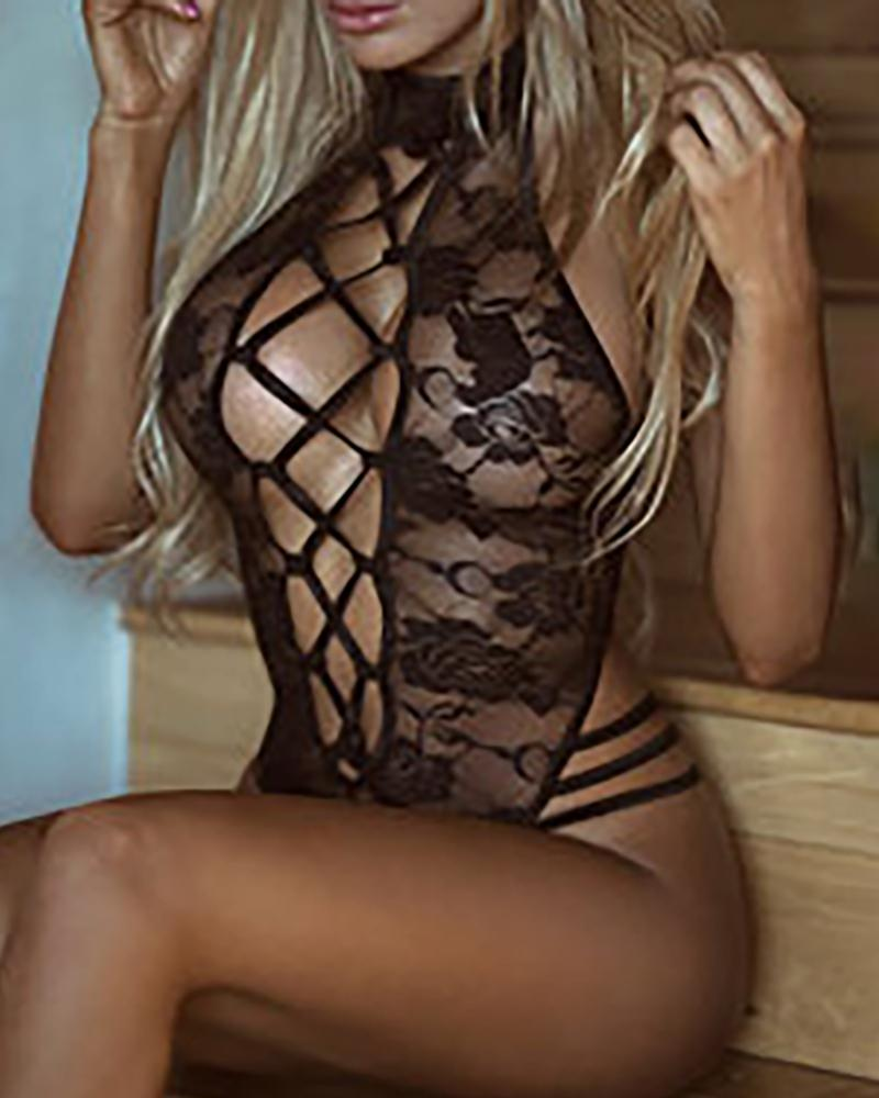 Crochet Lace Sheer Mesh Lace-up Teddy