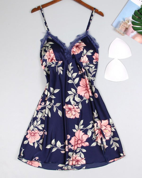 Floral Print Strap Loose Lace Contrast Slip Mini Dress
