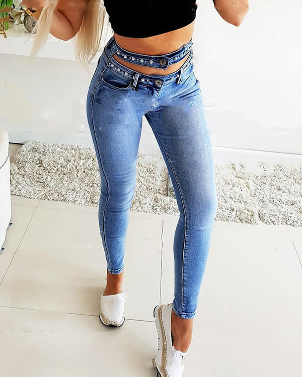 Solid Studded Patch Skinny Cut-out Pencil Denim Pants Jeans