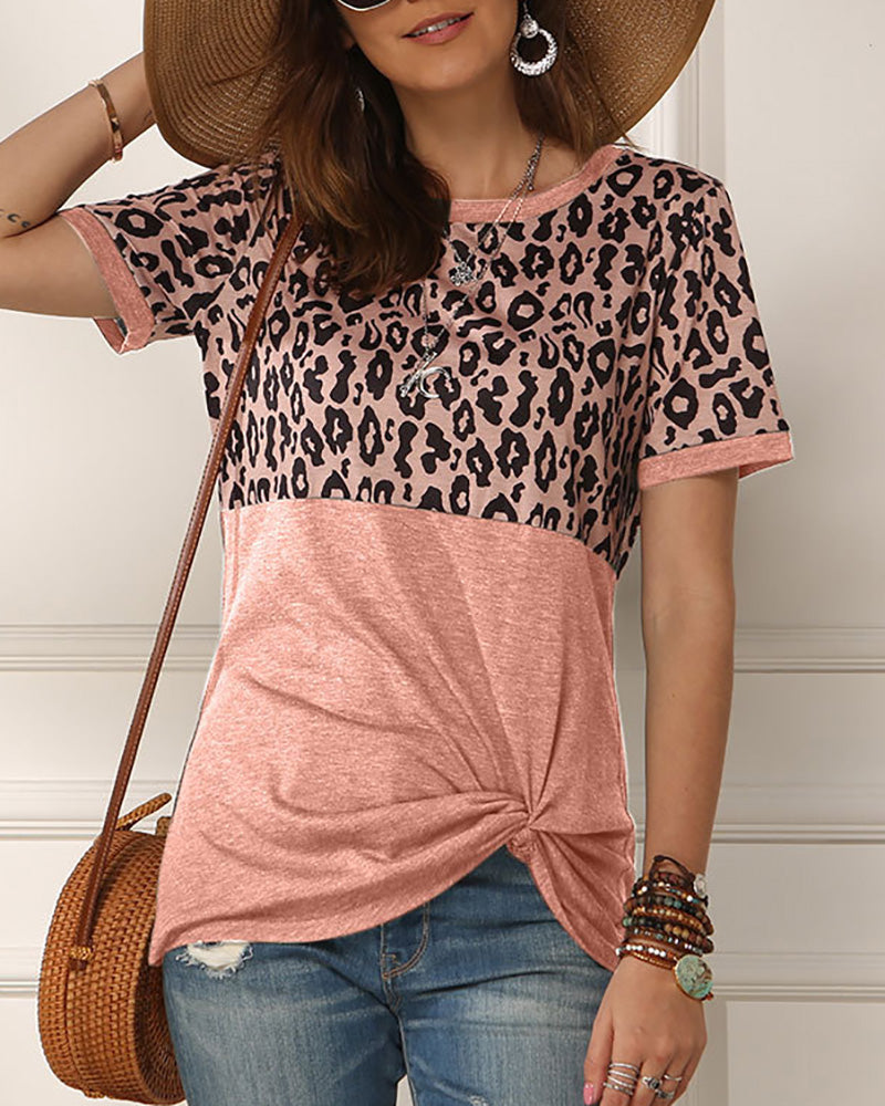 Leopard Print Twisted Casual T-shirt