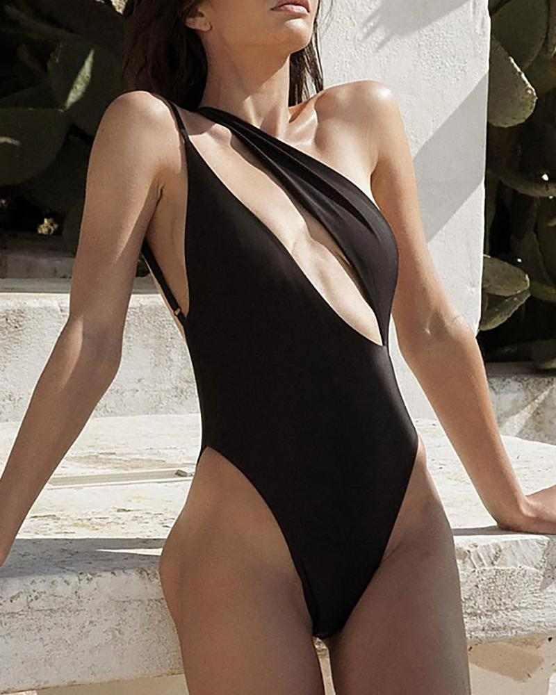 Cut Out Backless One Piece Swimsuit