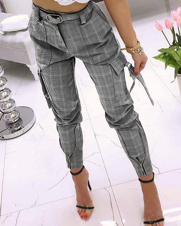 Plaid Print Pocket Zipper Design Pencil Pants
