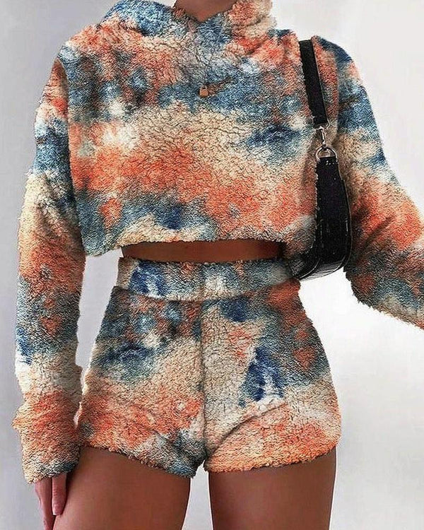 Tie Dye Fluffy Long Sleeve Sweatshirt And Short Pants Suit Sets