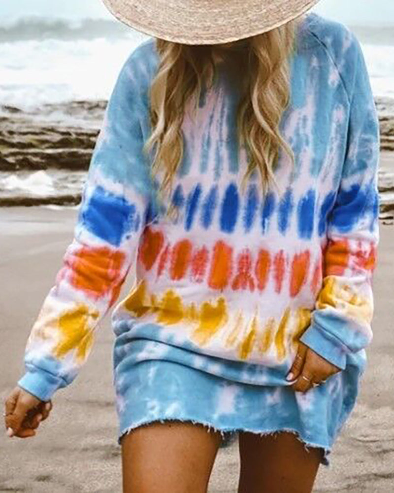 Tie Dye Print Fringe Hem Casual Dress