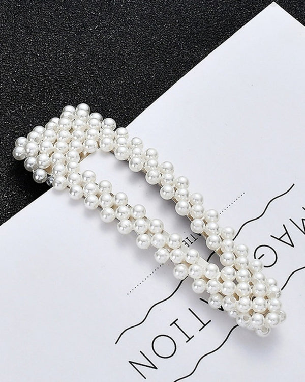 Women Full Pearl Hair Clips Snap Barrette Stick Hairpins Hair Styling Tools